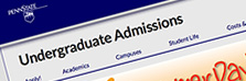 Penn State Admissions site interface